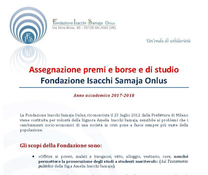 aa9d7126c8 Borsa di Studio Isacchi Samaja anno accademico 2017-2018 ...